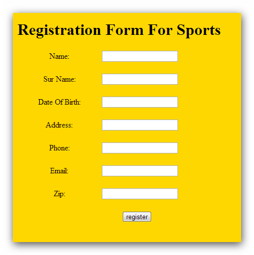 HTML Code for Designing of a Registration Form using Table