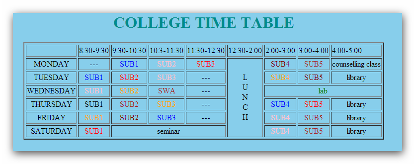 Html code for designing of time table using table for Table using html